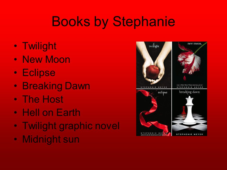 Books by Stephanie Twilight New Moon Eclipse Breaking Dawn The Host Hell on Earth Twilight graphic novel Midnight sun