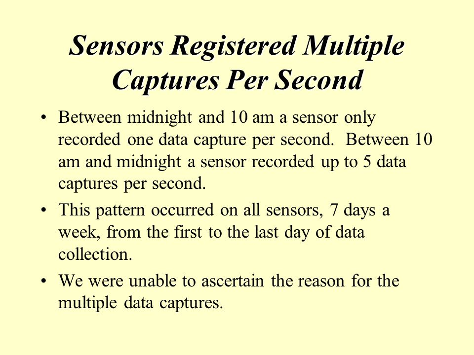 Sensors Registered Multiple Captures Per Second Between midnight and 10 am a sensor only recorded one data capture per second.