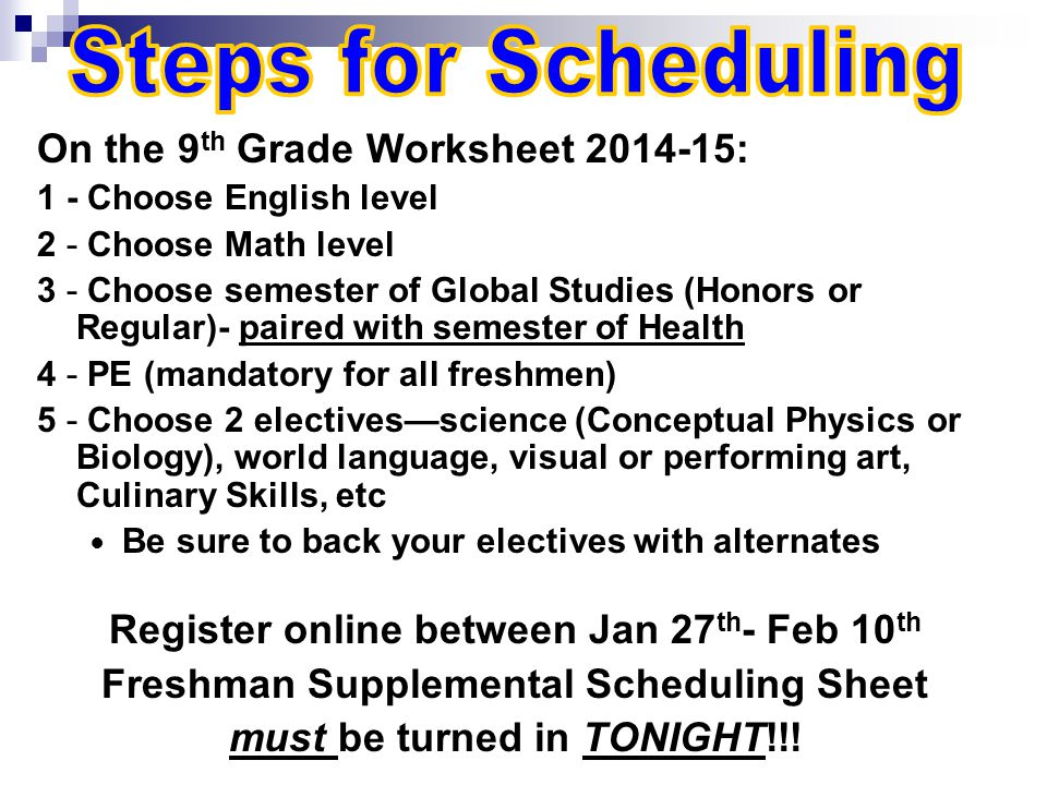 On the 9 th Grade Worksheet 2014-15: 1 - Choose English level 2 - Choose Math level 3 - Choose semester of Global Studies (Honors or Regular)- paired with semester of Health 4 - PE (mandatory for all freshmen) 5 - Choose 2 electives—science (Conceptual Physics or Biology), world language, visual or performing art, Culinary Skills, etc Be sure to back your electives with alternates Register online between Jan 27 th - Feb 10 th Freshman Supplemental Scheduling Sheet must be turned in TONIGHT!!!