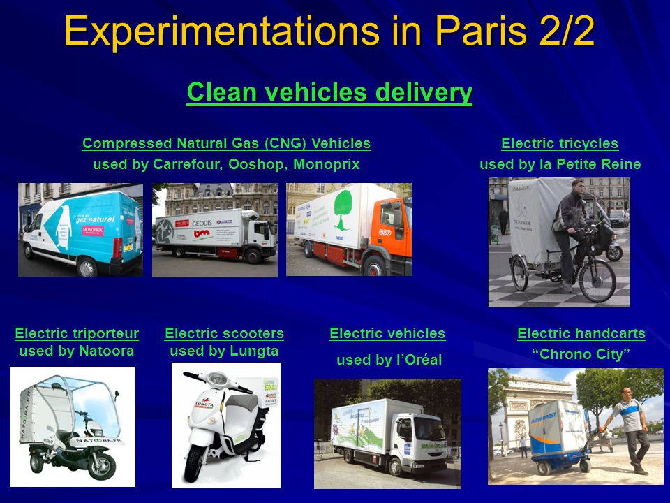Experimentations in Paris 2/2 Electric handcarts Chrono City Electric triporteur used by Natoora Electric scooters used by Lungta Electric tricycles used by la Petite Reine Electric vehicles used by l'Oréal Compressed Natural Gas (CNG) Vehicles used by Carrefour, Ooshop, Monoprix Clean vehicles delivery