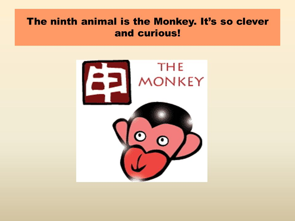 The ninth animal is the Monkey. It's so clever and curious!