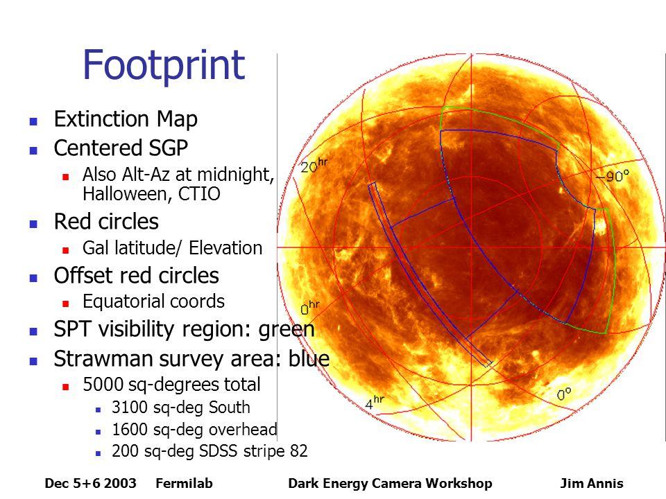 Dec 5+6 2003 FermilabDark Energy Camera Workshop Jim Annis DEC and SDSS Footprints