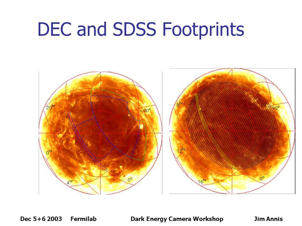 Dec 5+6 2003 FermilabDark Energy Camera Workshop Jim Annis Visbility RA: 22 hrs to 6 hrs 22 hrs: overhead at midnight Sept 15 6 hrs: overhead at midnight Jan 15 Optimal: October, November, December, January