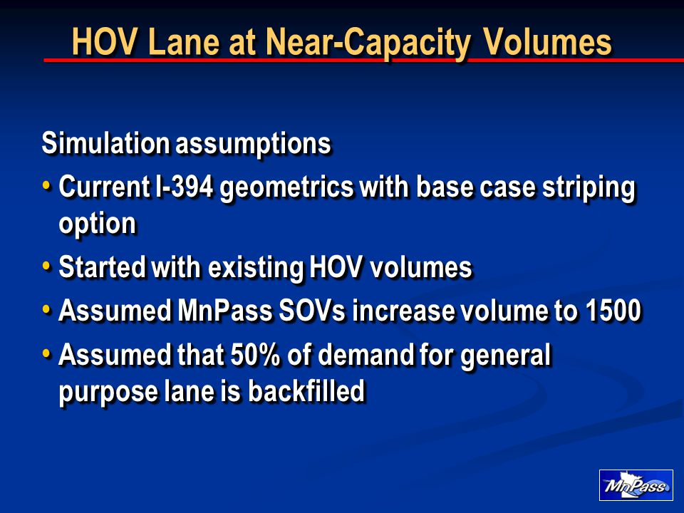 HOV Lane at Near-Capacity Volumes Simulation assumptions Current I-394 geometrics with base case striping option Current I-394 geometrics with base case striping option Started with existing HOV volumes Started with existing HOV volumes Assumed MnPass SOVs increase volume to 1500 Assumed MnPass SOVs increase volume to 1500 Assumed that 50% of demand for general purpose lane is backfilled Assumed that 50% of demand for general purpose lane is backfilled Simulation assumptions Current I-394 geometrics with base case striping option Current I-394 geometrics with base case striping option Started with existing HOV volumes Started with existing HOV volumes Assumed MnPass SOVs increase volume to 1500 Assumed MnPass SOVs increase volume to 1500 Assumed that 50% of demand for general purpose lane is backfilled Assumed that 50% of demand for general purpose lane is backfilled