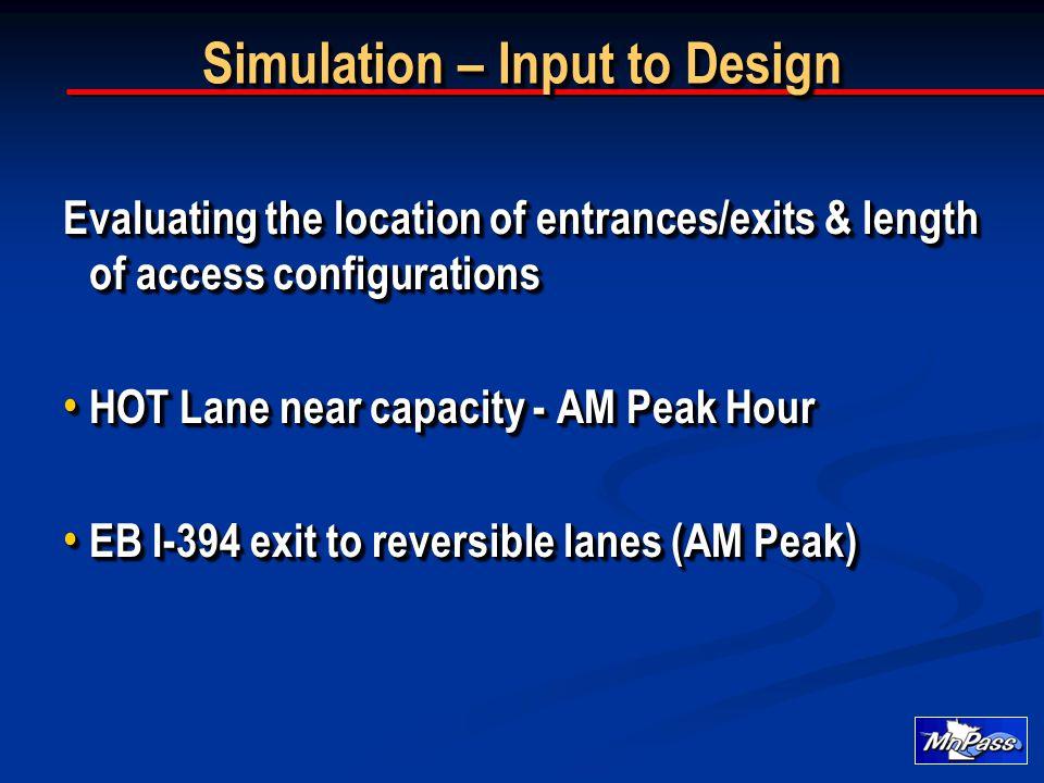 Simulation – Input to Design Evaluating the location of entrances/exits & length of access configurations HOT Lane near capacity - AM Peak Hour HOT La