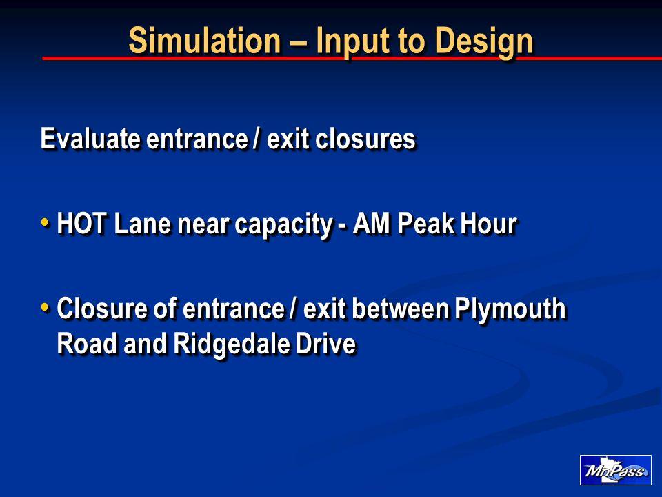 Evaluate entrance / exit closures HOT Lane near capacity - AM Peak Hour HOT Lane near capacity - AM Peak Hour Closure of entrance / exit between Plymo