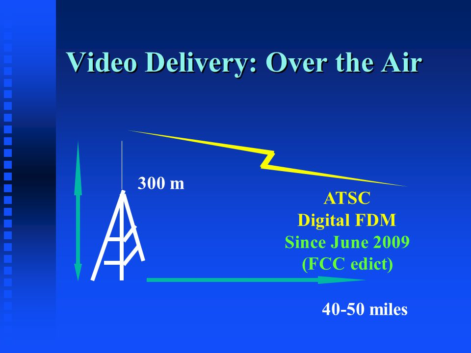 Video Delivery: Over the Air 300 m ATSC Digital FDM Since June 2009 (FCC edict) 40-50 miles