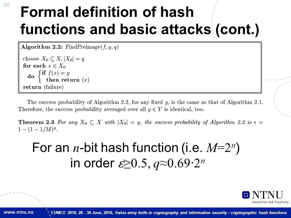 26 EUNICE 2010, 28 - 30 June, 2010, Swiss army knife in cryptography and information security - cryptographic hash functions Formal definition of hash
