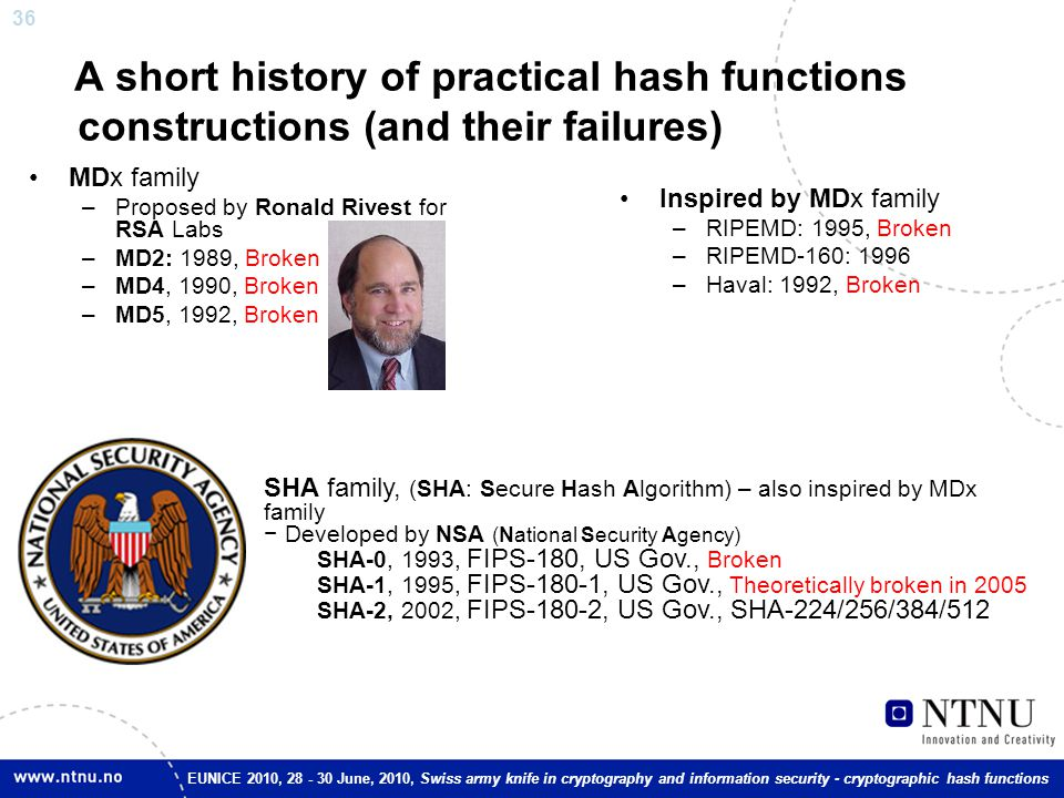 36 EUNICE 2010, 28 - 30 June, 2010, Swiss army knife in cryptography and information security - cryptographic hash functions A short history of practi