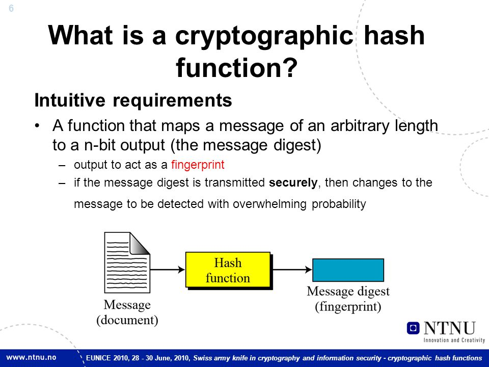 6 EUNICE 2010, 28 - 30 June, 2010, Swiss army knife in cryptography and information security - cryptographic hash functions What is a cryptographic ha