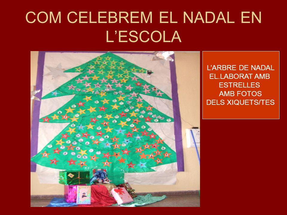 COM CELEBREM EL NADAL EN L'ESCOLA L'ARBRE DE NADAL EL.LABORAT AMB ESTRELLES AMB FOTOS DELS XIQUETS/TES