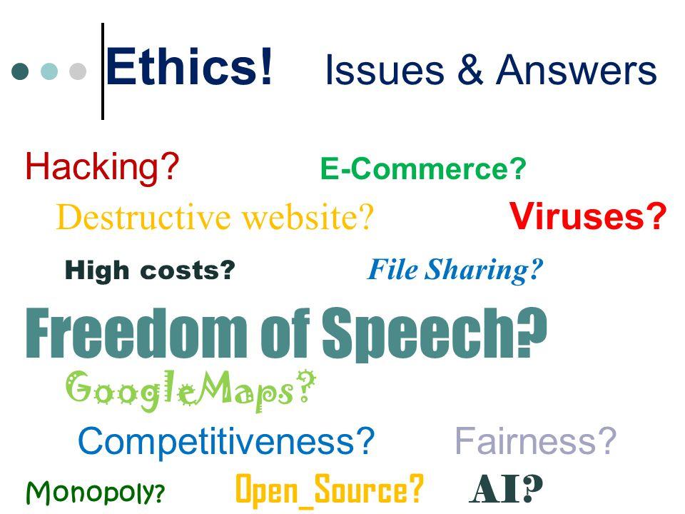 Ethics. Issues & Answers Hacking. E-Commerce. Destructive website.