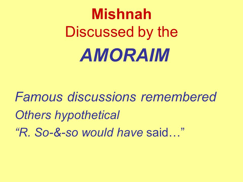 Mishnah Discussed by the AMORAIM Famous discussions remembered Others hypothetical R.