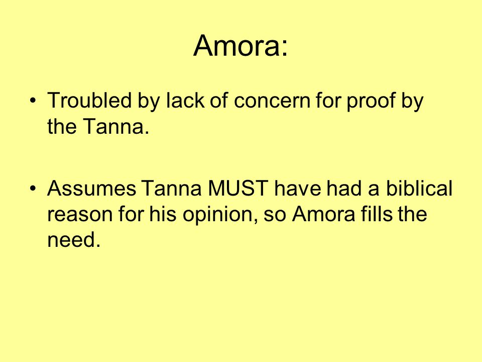 Amora: Troubled by lack of concern for proof by the Tanna.