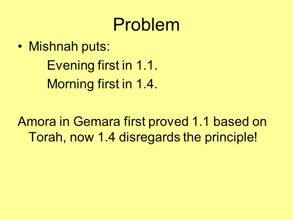 Problem Mishnah puts: Evening first in 1.1. Morning first in 1.4.