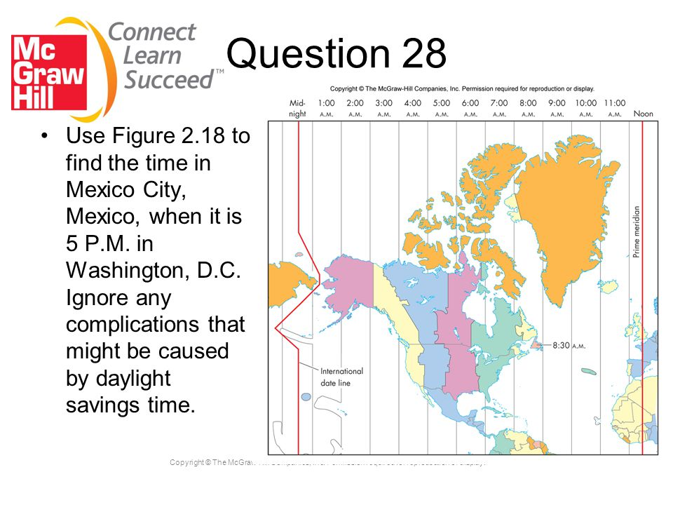 Copyright © The McGraw-Hill Companies, Inc. Permission required for reproduction or display. Question 28 Use Figure 2.18 to find the time in Mexico Ci