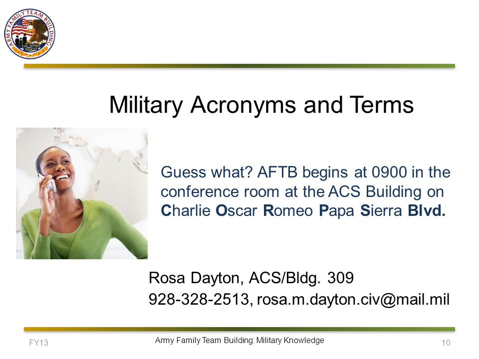 FY1310 Army Family Team Building: Military Knowledge Military Acronyms and Terms Rosa Dayton, ACS/Bldg.