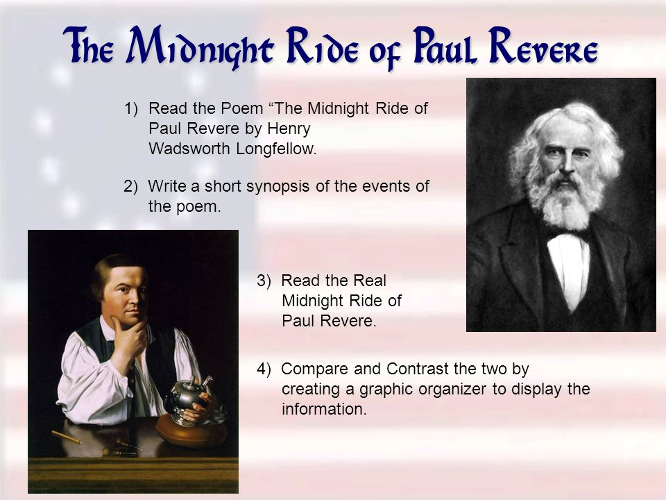 The Midnight Ride of Paul Revere 1)Read the Poem The Midnight Ride of Paul Revere by Henry Wadsworth Longfellow.