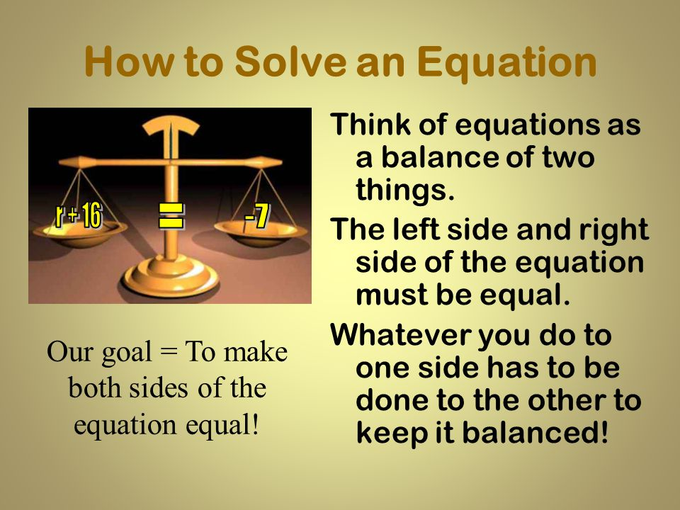 One Step Equations Solving Equations using Addition and Subtraction Algebra Seminar 2012-2013