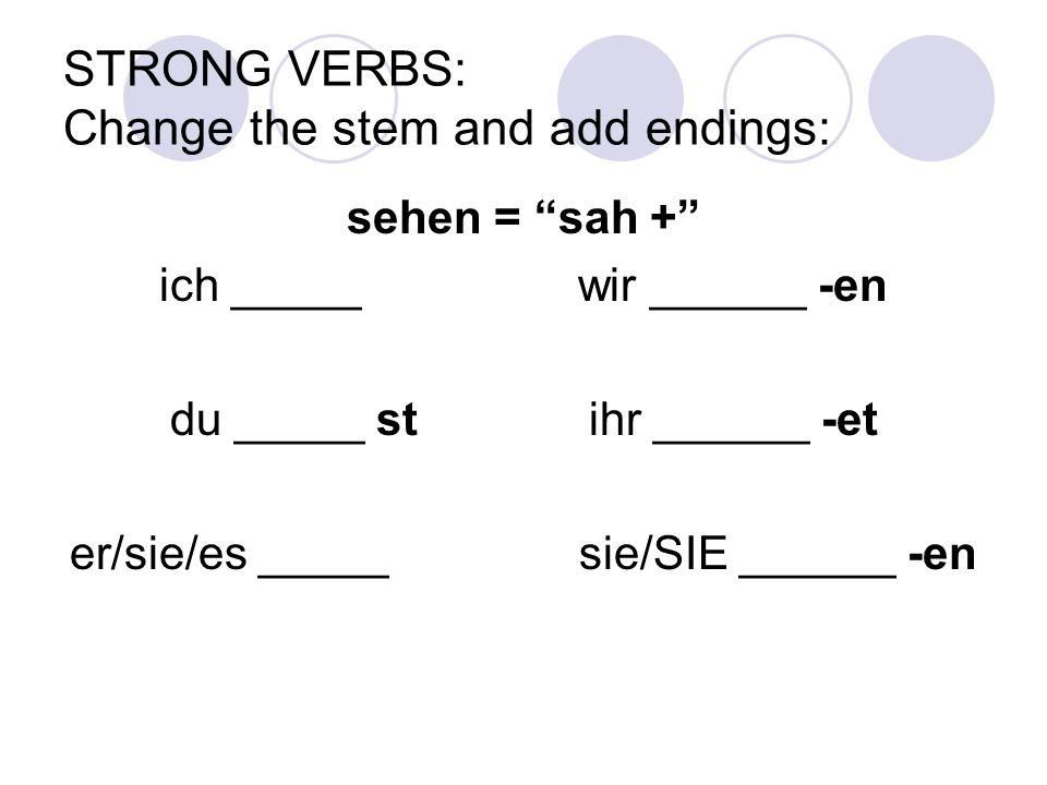 "STRONG VERBS: Change the stem and add endings: sehen = ""sah +"" ich _____ wir ______ -en du _____ stihr ______ -et er/sie/es _____ sie/SIE ______ -en"