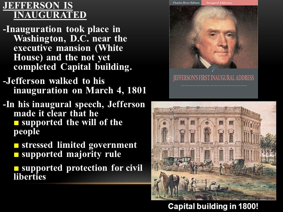 JEFFERSON IS INAUGURATED -Inauguration took place in Washington, D.C.