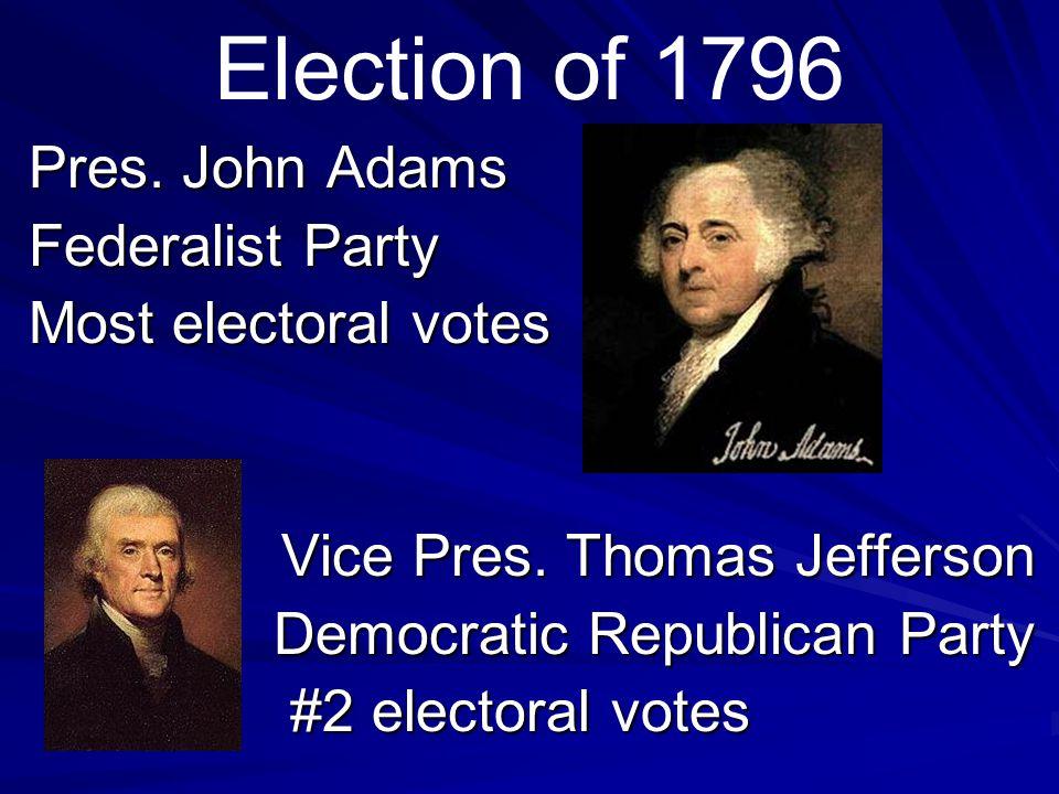 Election of 1796 Pres. John Adams Federalist Party Most electoral votes Vice Pres.