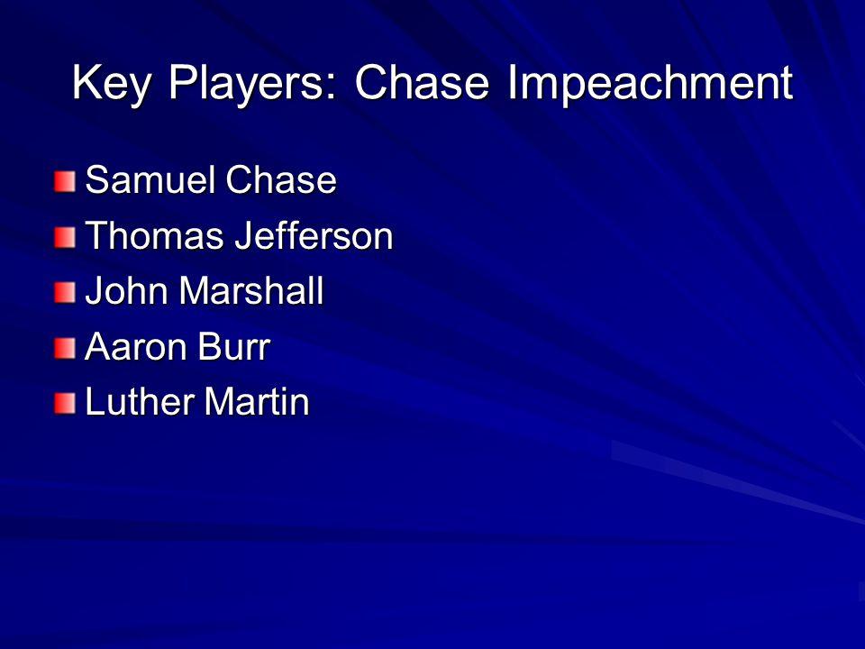 Key Players: Chase Impeachment Samuel Chase Thomas Jefferson John Marshall Aaron Burr Luther Martin