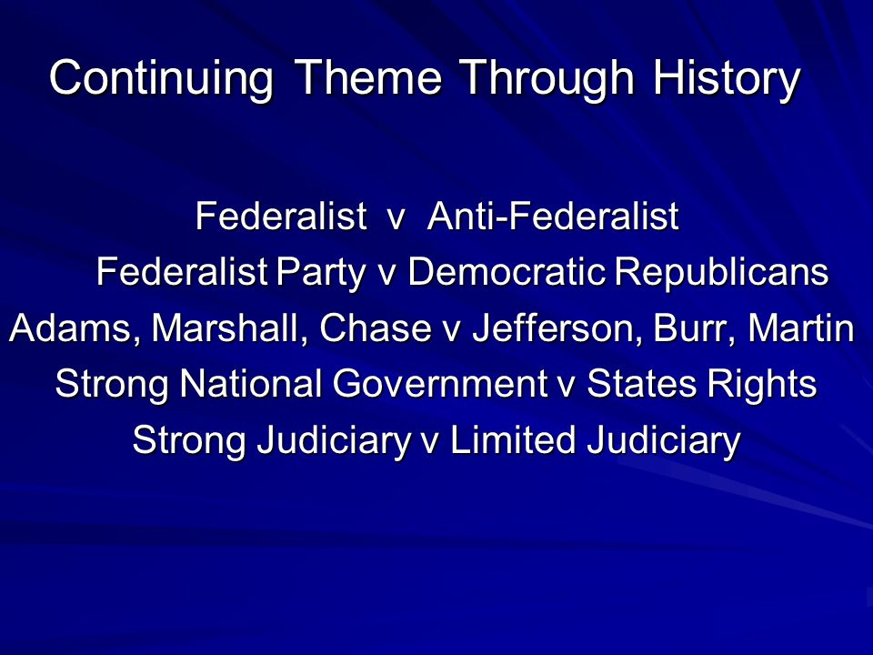 Continuing Theme Through History Continuing Theme Through History Federalist v Anti-Federalist Federalist Party v Democratic Republicans Federalist Pa