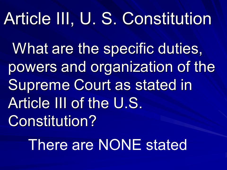 Article III, U. S.