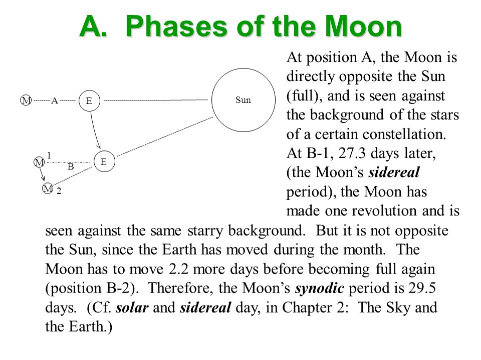 A. Phases of the Moon Sun M A B M M 1 2 E E At position A, the Moon is directly opposite the Sun (full), and is seen against the background of the sta