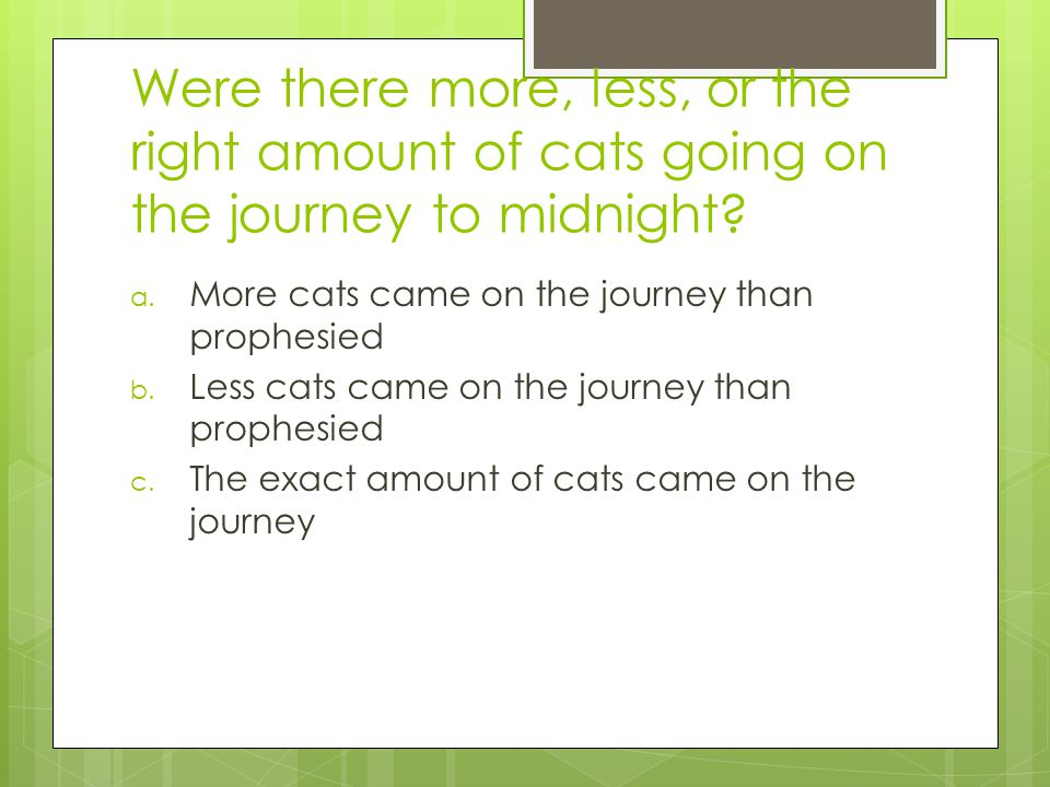 Were there more, less, or the right amount of cats going on the journey to midnight.