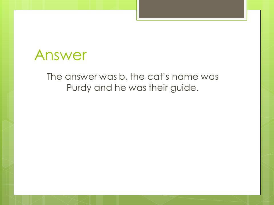 Answer The answer was b, the cat's name was Purdy and he was their guide.