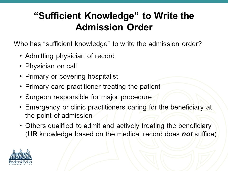 How to write admission orders