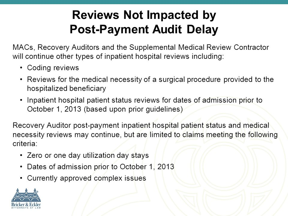 Hospital Options: Part A to Part B Billing Available Hospital Options for Obtaining Payment for Inpatient Claims denied by Medicare contractors or self- denied 1.File an administrative appeal of the Part A denial (n/a self denials) 2.Submit Outpatient Part B bill using Condition Code 44 3.Submit Outpatient Part B bill for services provided prior to denied inpatient admission and Inpatient Part B bill for services provided after admission (MedLearn Matter SE1333)
