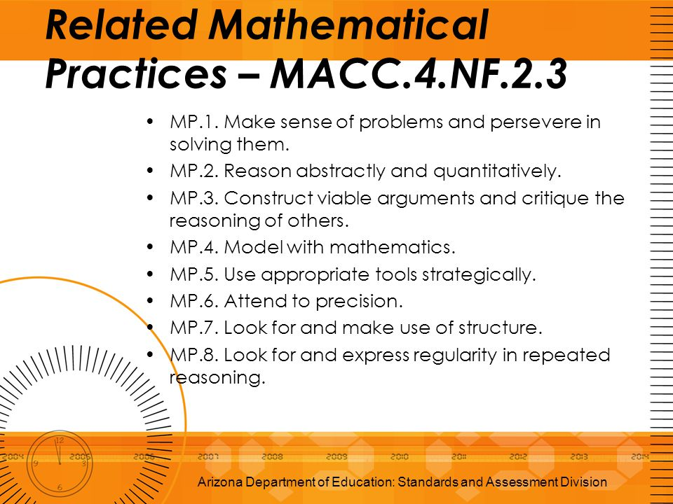 Arizona Department of Education: Standards and Assessment Division Related Mathematical Practices – MACC.4.NF.2.3 MP.1. Make sense of problems and per