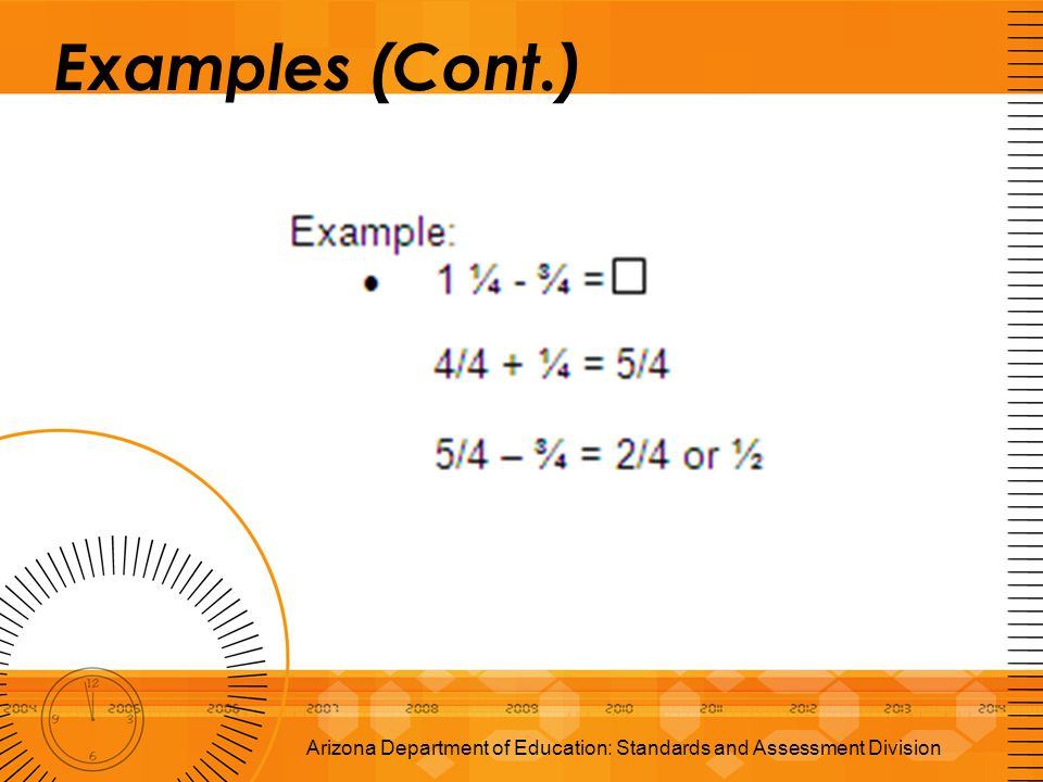 Examples (Cont.) Arizona Department of Education: Standards and Assessment Division