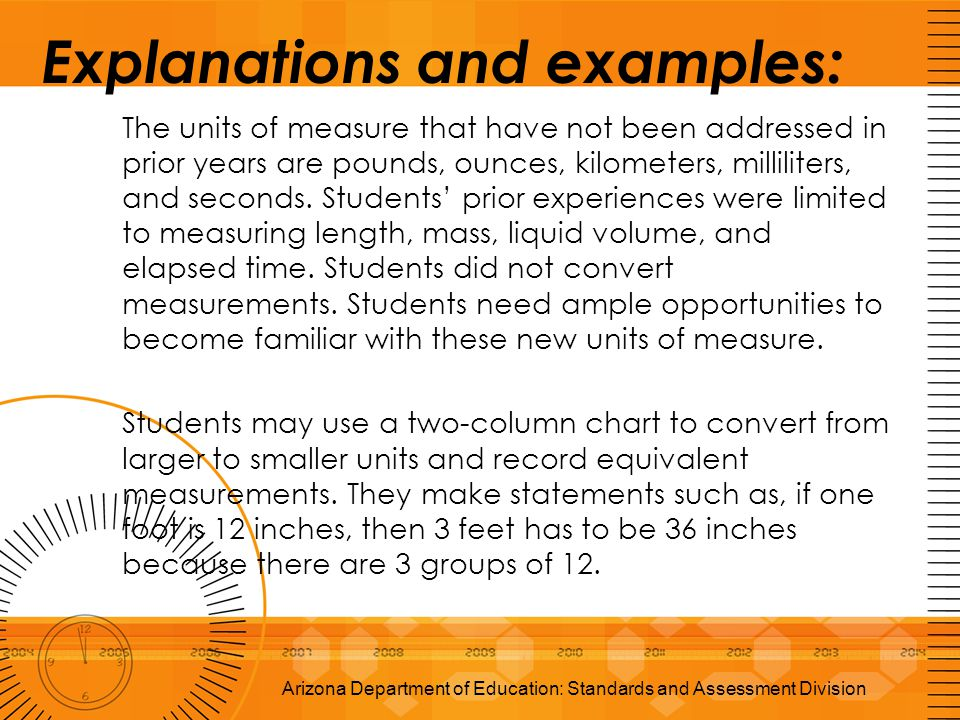 Explanations and examples: The units of measure that have not been addressed in prior years are pounds, ounces, kilometers, milliliters, and seconds.