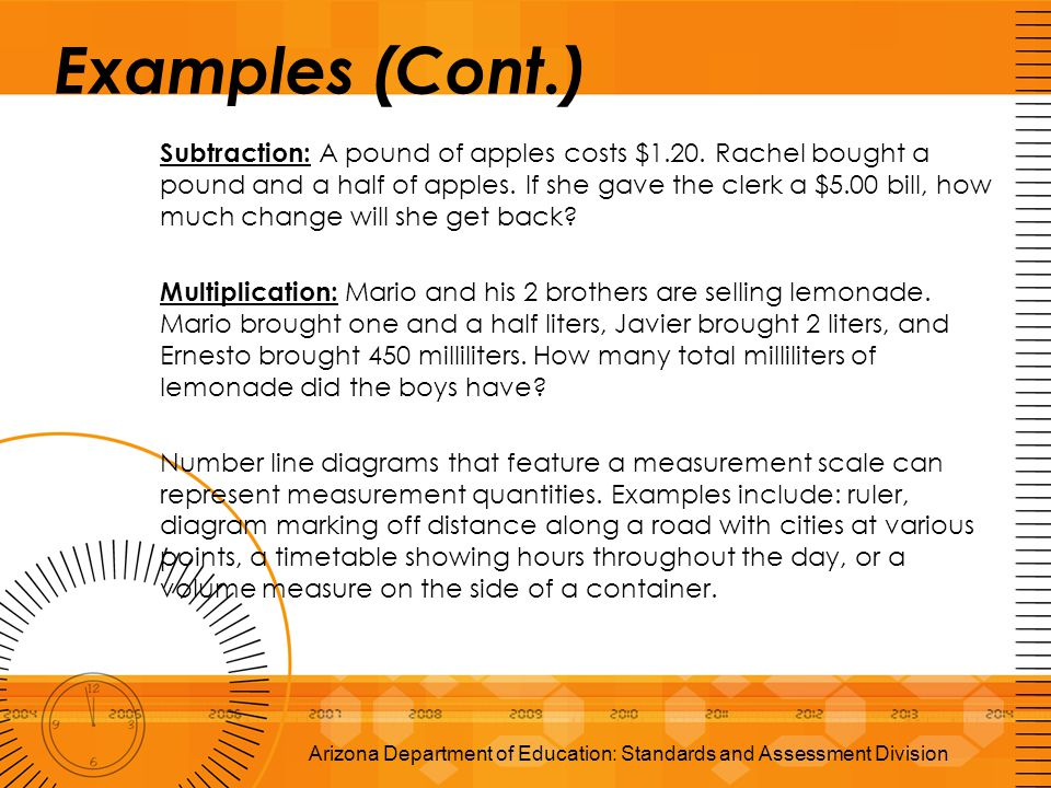 Examples (Cont.) Subtraction: A pound of apples costs $1.20. Rachel bought a pound and a half of apples. If she gave the clerk a $5.00 bill, how much