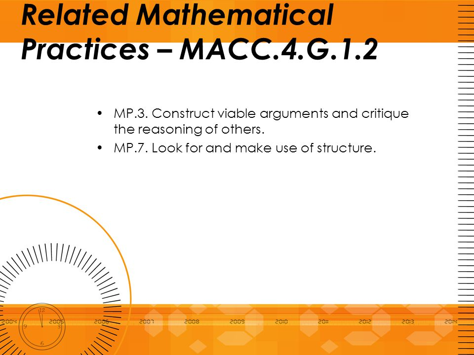 Related Mathematical Practices – MACC.4.G.1.2 MP.3. Construct viable arguments and critique the reasoning of others. MP.7. Look for and make use of st