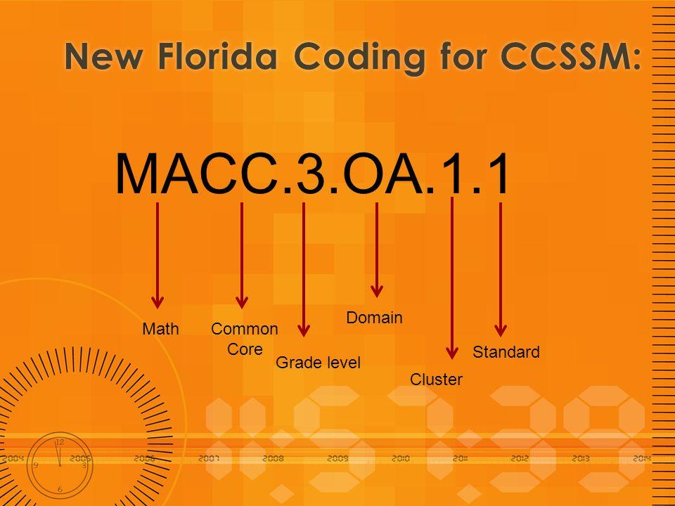 New Florida Coding for CCSSM:New Florida Coding for CCSSM: MACC.3.OA.1.1 MathCommon Core Grade level Domain Cluster Standard