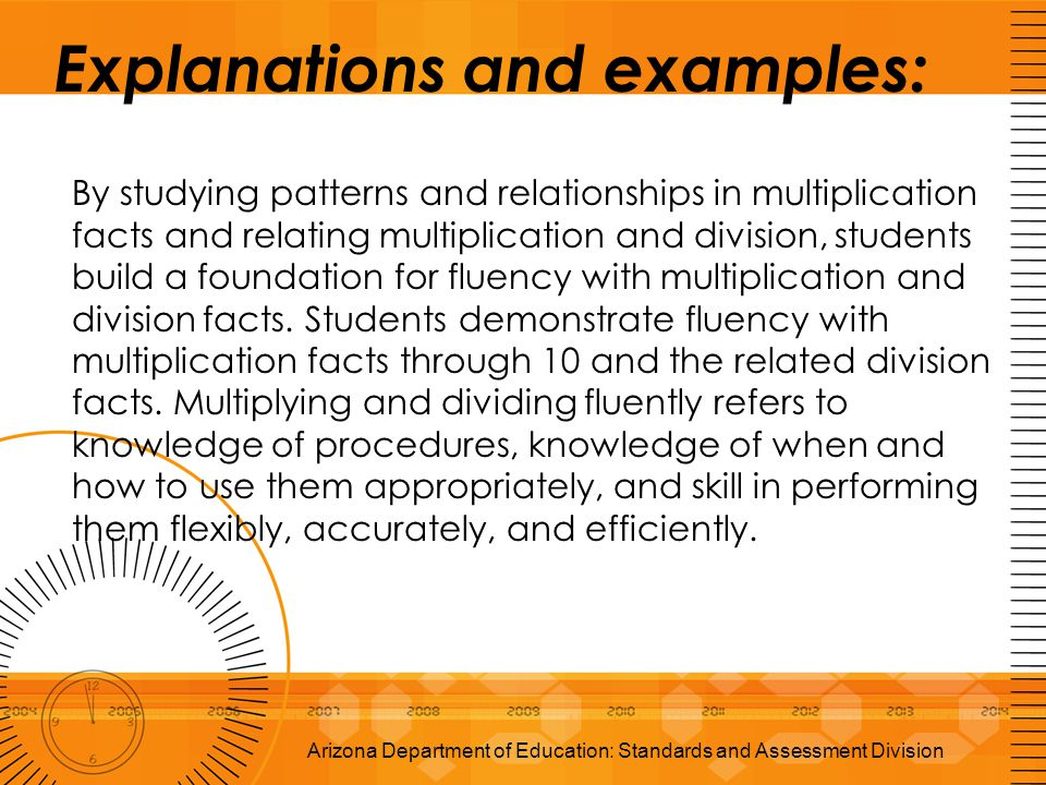 Explanations and examples: By studying patterns and relationships in multiplication facts and relating multiplication and division, students build a f
