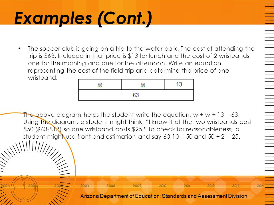 Examples (Cont.) The soccer club is going on a trip to the water park. The cost of attending the trip is $63. Included in that price is $13 for lunch