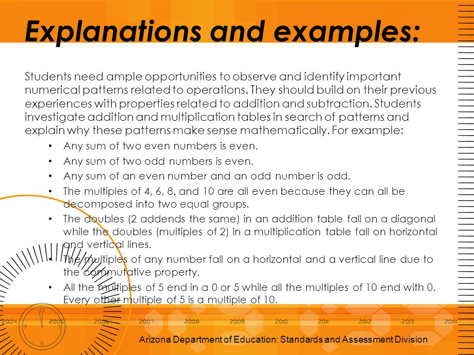 Explanations and examples: Students need ample opportunities to observe and identify important numerical patterns related to operations. They should b