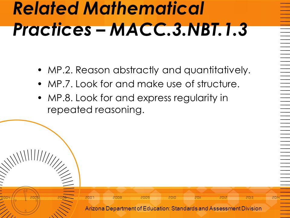 Related Mathematical Practices – MACC.3.NBT.1.3 MP.2. Reason abstractly and quantitatively. MP.7. Look for and make use of structure. MP.8. Look for a