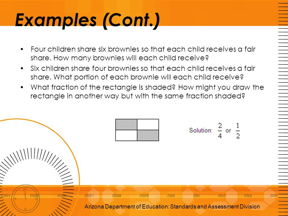 Examples (Cont.) Four children share six brownies so that each child receives a fair share. How many brownies will each child receive? Six children sh
