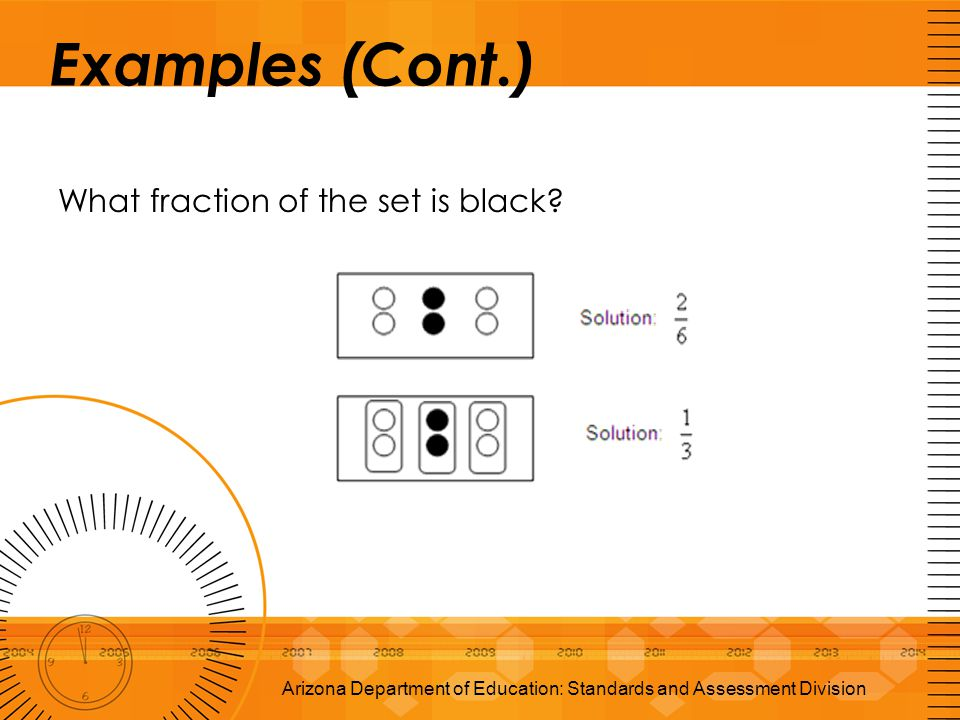 Examples (Cont.) What fraction of the set is black? Arizona Department of Education: Standards and Assessment Division