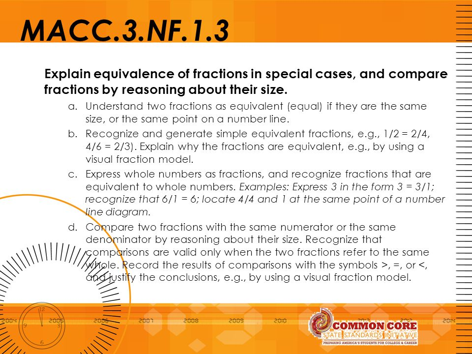 MACC.3.NF.1.3 Explain equivalence of fractions in special cases, and compare fractions by reasoning about their size. a.Understand two fractions as eq
