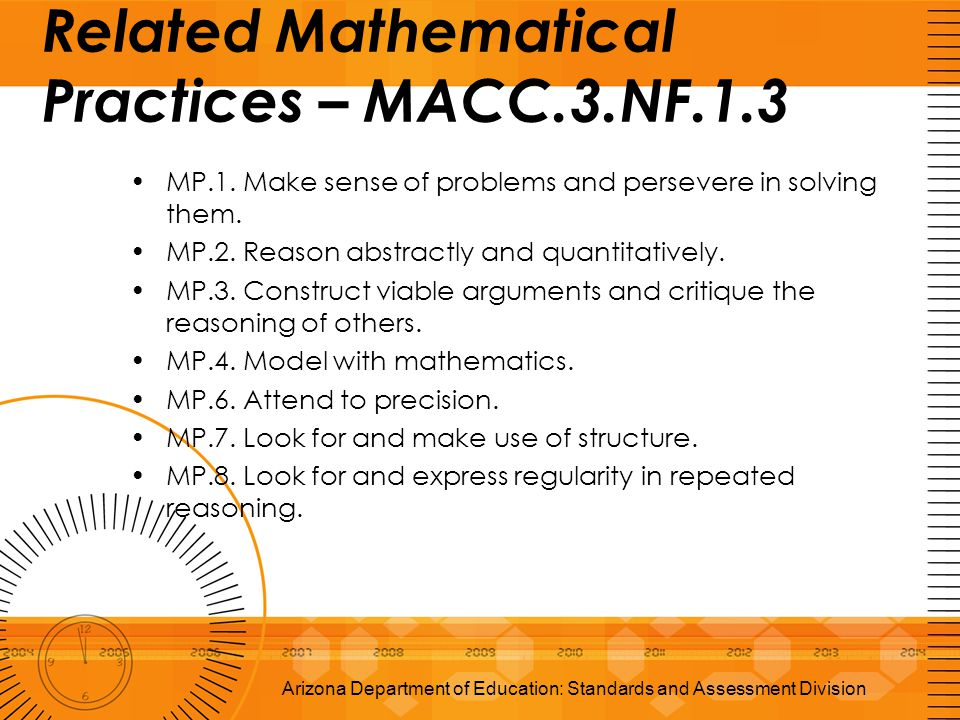 Related Mathematical Practices – MACC.3.NF.1.3 MP.1. Make sense of problems and persevere in solving them. MP.2. Reason abstractly and quantitatively.