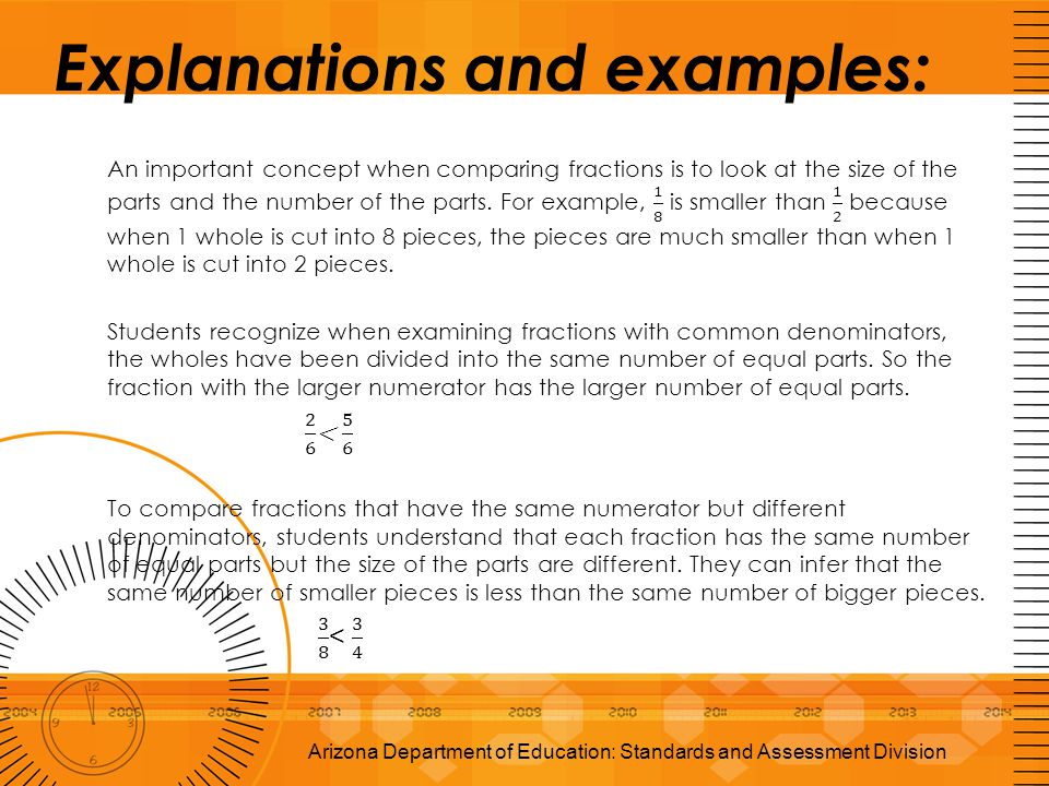 Explanations and examples: Arizona Department of Education: Standards and Assessment Division