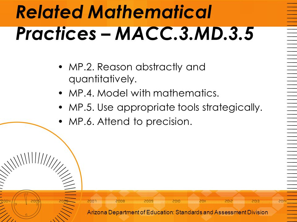 Related Mathematical Practices – MACC.3.MD.3.5 MP.2. Reason abstractly and quantitatively. MP.4. Model with mathematics. MP.5. Use appropriate tools s